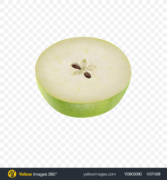 Download Half of Green Apple Transparent PNG on Yellow Images 360°
