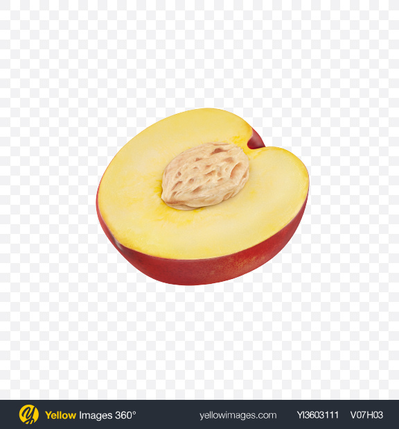 Download Half of Nectarine Transparent PNG on Yellow Images 360°