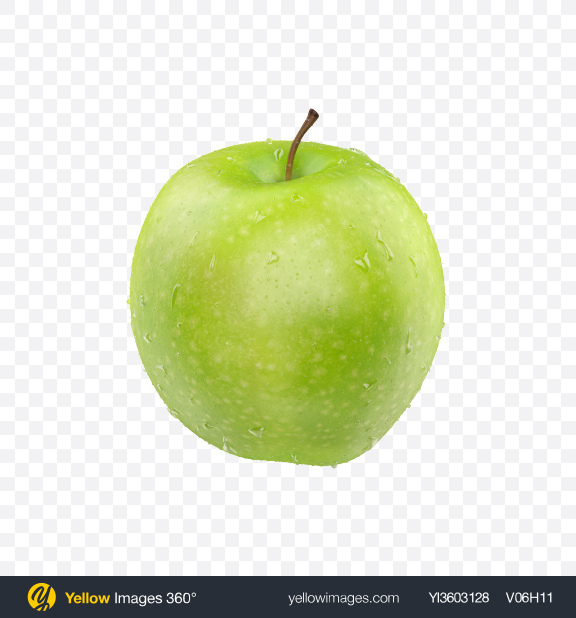 Download Green Apple with Water Drops Transparent PNG on Yellow Images 360°
