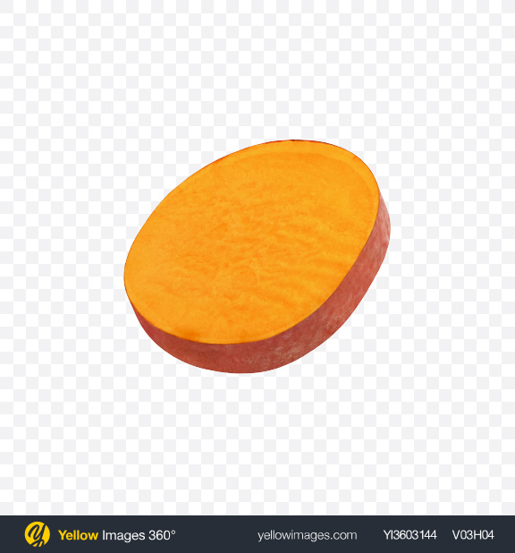 Download Sweet Potato Slice Transparent PNG on Yellow Images 360°