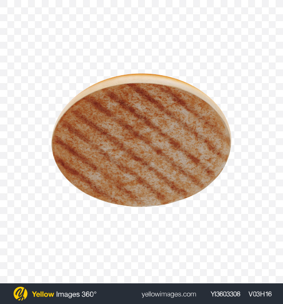 Download Grilled Top Half of Burger Bun Transparent PNG on Yellow Images 360°