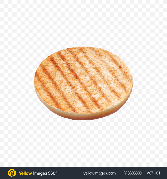Download Grilled Bottom Half of Burger Bun Transparent PNG on Yellow Images 360°