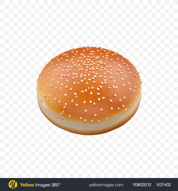 Download Burger Bun with Sesame Seeds Transparent PNG on Yellow Images 360°