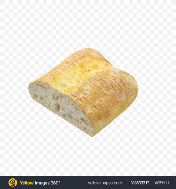 Download Half of Ciabatta Bread Transparent PNG on Yellow Images 360°