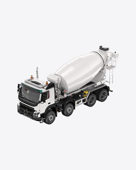 White Mixer Truck