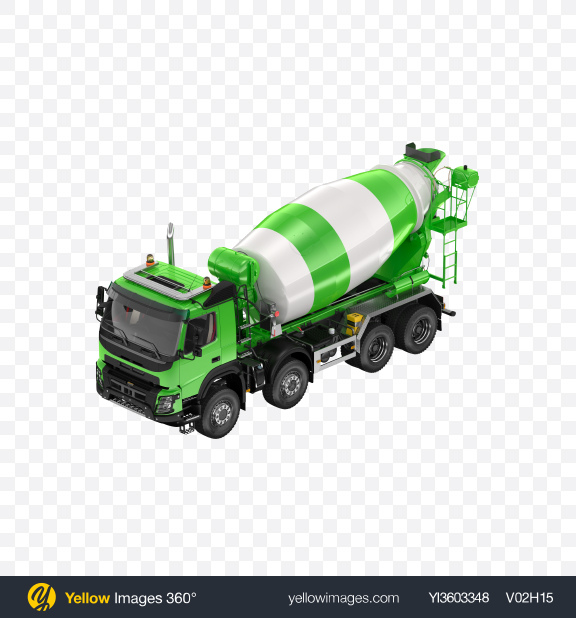 Download Green Mixer Truck Transparent PNG on Yellow Images 360°