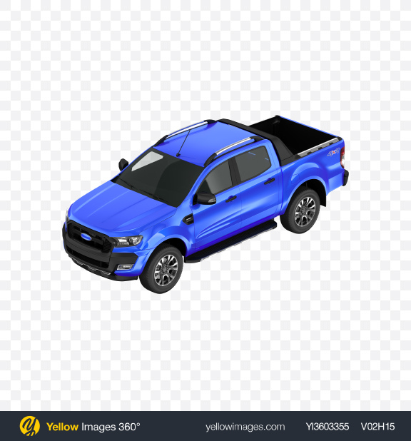 Download Blue Pickup Truck Transparent PNG on Yellow Images 360°