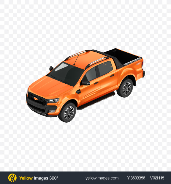 Download Orange Pickup Truck Transparent PNG on Yellow Images 360°