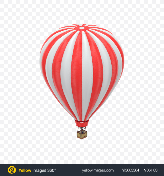 Download Red Striped Hot Air Balloon Transparent PNG on Yellow Images 360°