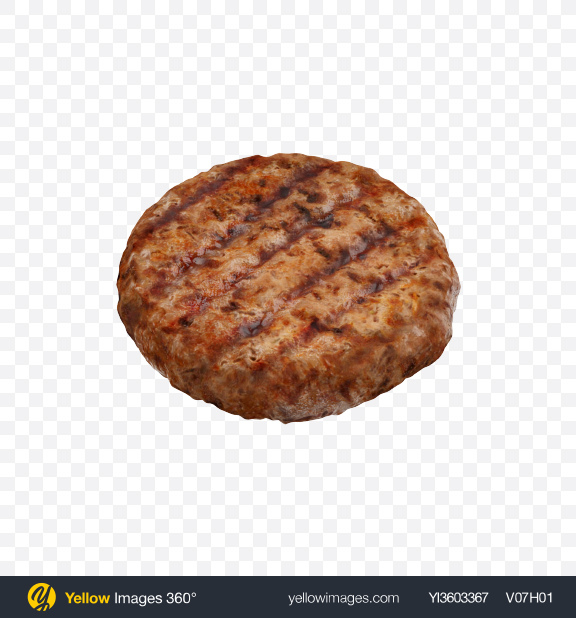 Download Grilled Burger Patty Transparent PNG on Yellow Images 360°