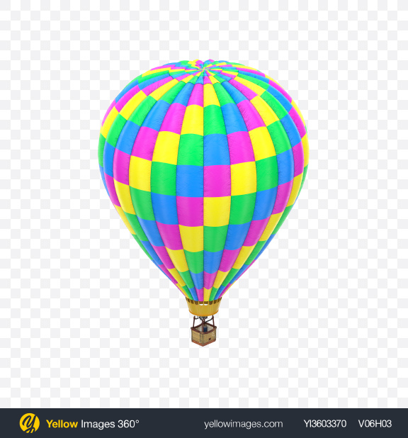 Download Neon Hot Air Balloon Transparent PNG on Yellow Images 360°