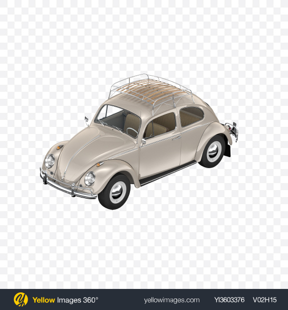 Download Beige Retro Compact Car Transparent PNG on Yellow Images 360°