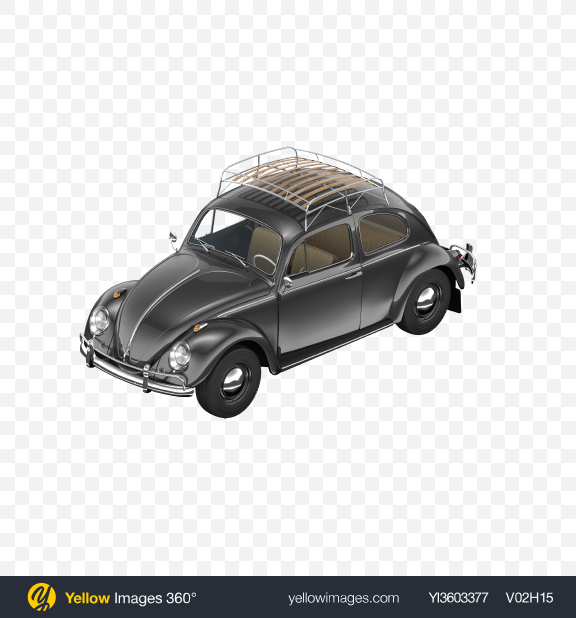 Download Black Retro Compact Car Transparent PNG on Yellow Images 360°