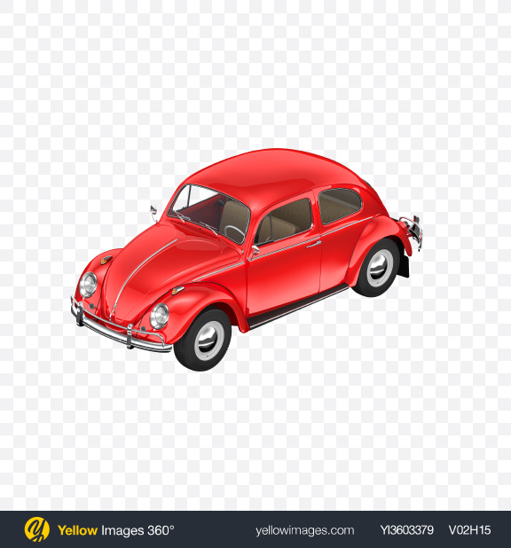 Download Red Retro Compact Car Transparent PNG on Yellow Images 360°
