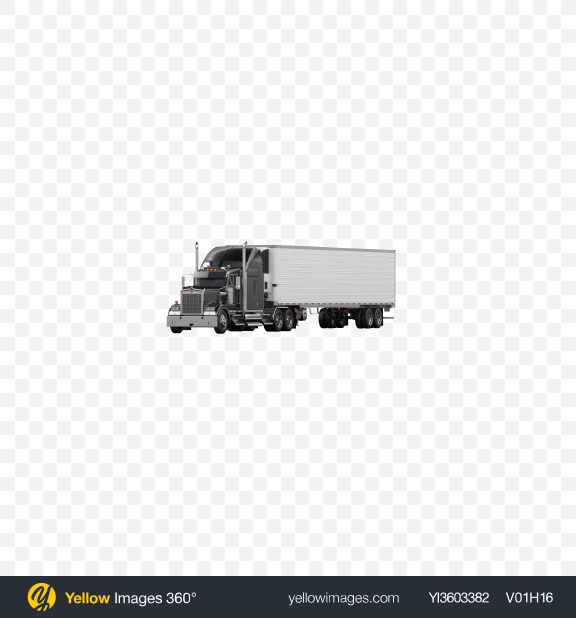 Download Black Semi-Trailer Truck Transparent PNG on Yellow Images 360°