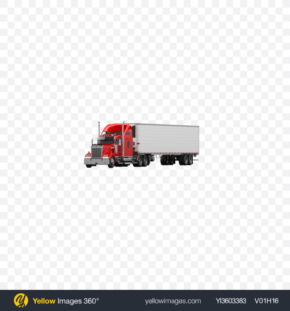 Download Red Semi-Trailer Truck Transparent PNG on Yellow Images 360°