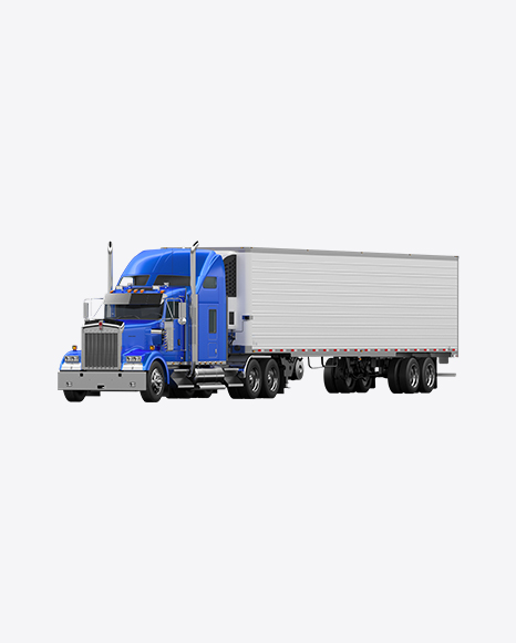 Blue Semi-Trailer Truck