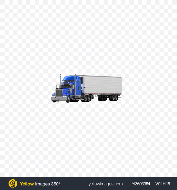 Download Blue Semi-Trailer Truck Transparent PNG on Yellow Images 360°