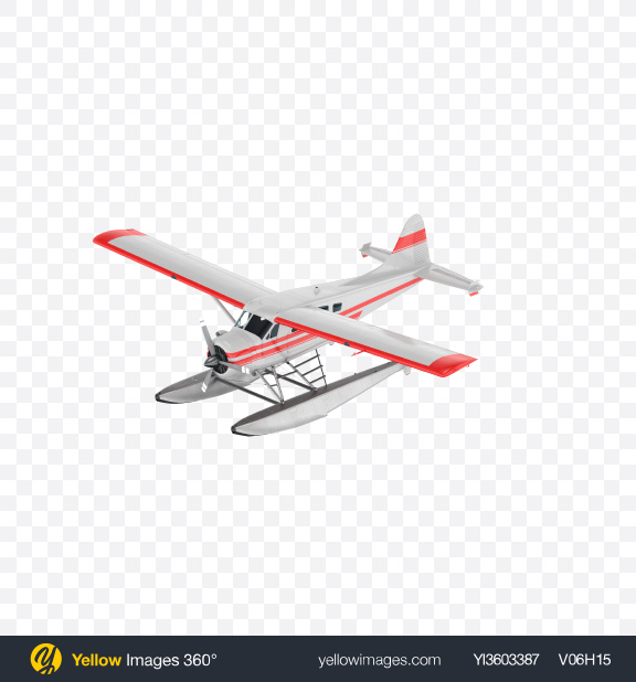 Download White Seaplane with Stripes Transparent PNG on Yellow Images 360°