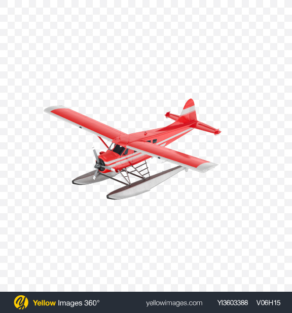 Download Red Seaplane with Stripes Transparent PNG on Yellow Images 360°