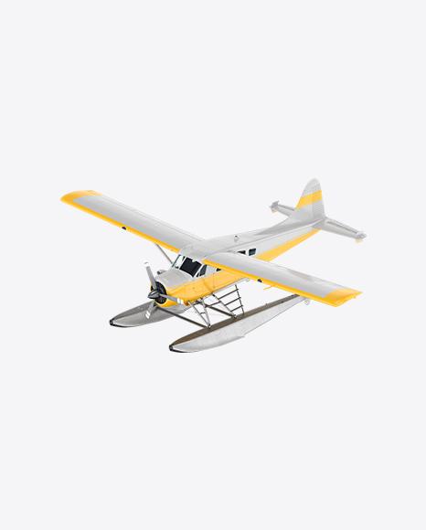 White Seaplane with Stripes