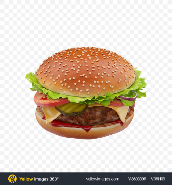 Download Burger Transparent PNG on Yellow Images 360°