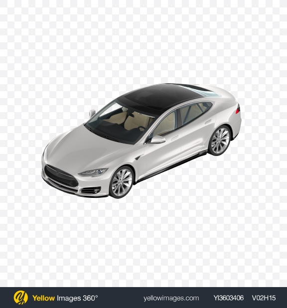Download White Electric Liftback Transparent PNG on Yellow Images 360°