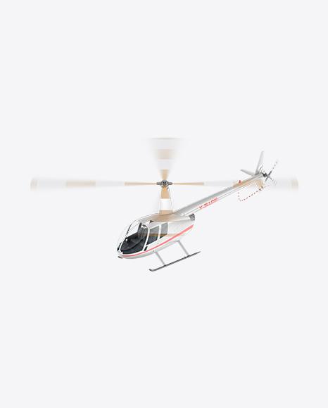 Flying White Light Helicopter