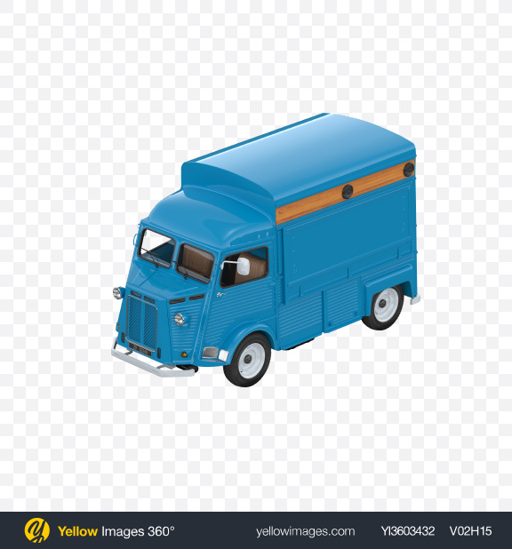 Download Blue Food Truck Transparent PNG on Yellow Images 360°