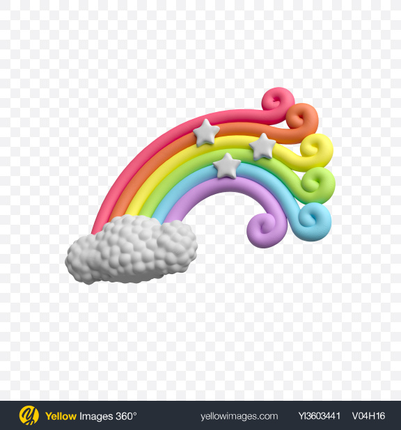 Download Rainbow Cake Topper Transparent PNG on Yellow Images 360°