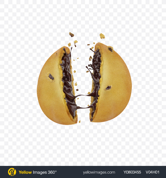 Download Cracked Cookie with Chocolate Filling Transparent PNG on Yellow Images 360°