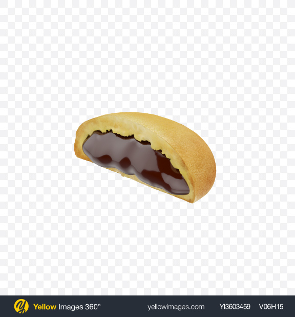 Download Half of Cookie with Chocolate Filling Transparent PNG on Yellow Images 360°