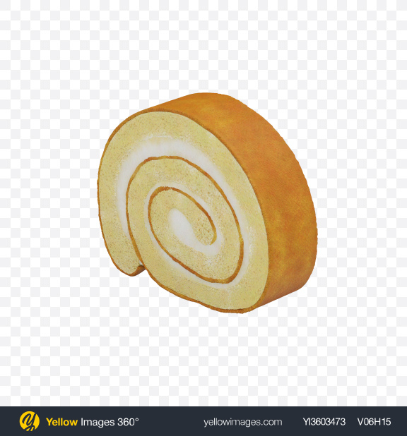 Download Vanilla Swiss Roll Slice Transparent PNG on Yellow Images 360°