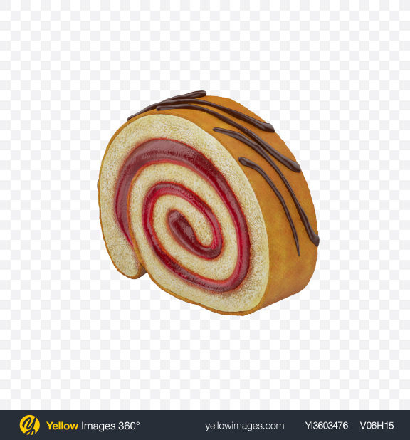 Download Strawberry Swiss Roll Slice Transparent PNG on Yellow Images 360°