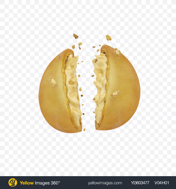Download Cracked Cookie with Vanilla Filling Transparent PNG on Yellow Images 360°