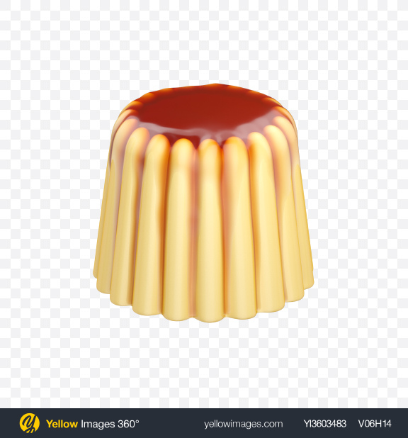 Download Caramel Custard Pudding Transparent PNG on Yellow Images 360°
