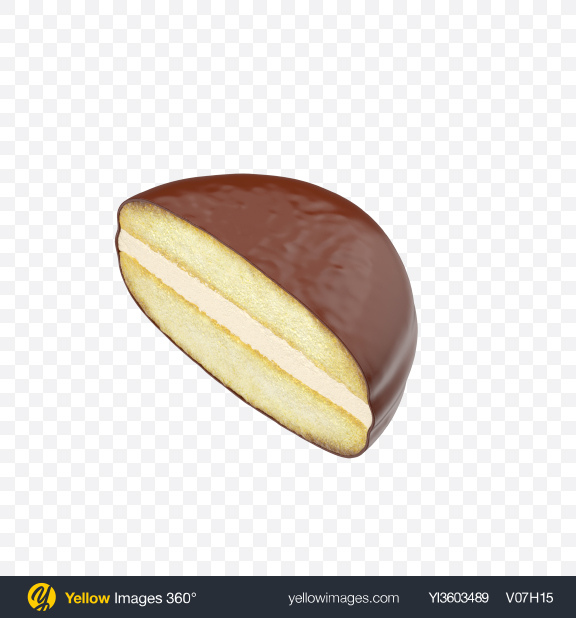 Download Half of Chocolate Coated Snack Cake Transparent PNG on Yellow Images 360°