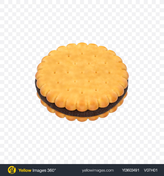 Download Double Biscuit with Chocolate Transparent PNG on Yellow Images 360°