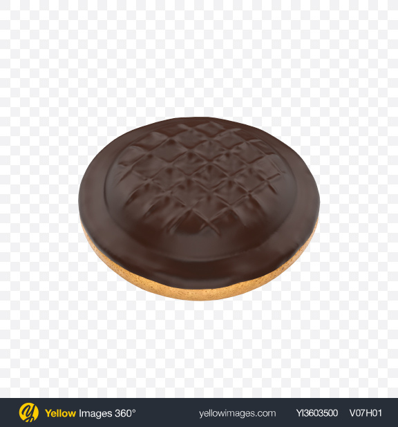 Download Chocolate Coated Cookie With Jam Transparent PNG on Yellow Images 360°