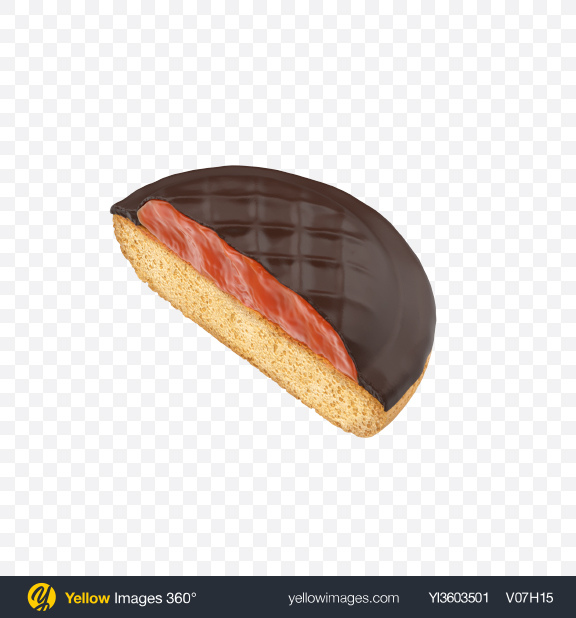 Download Half of Chocolate Coated Cookie With Jam Transparent PNG on YELLOW Images