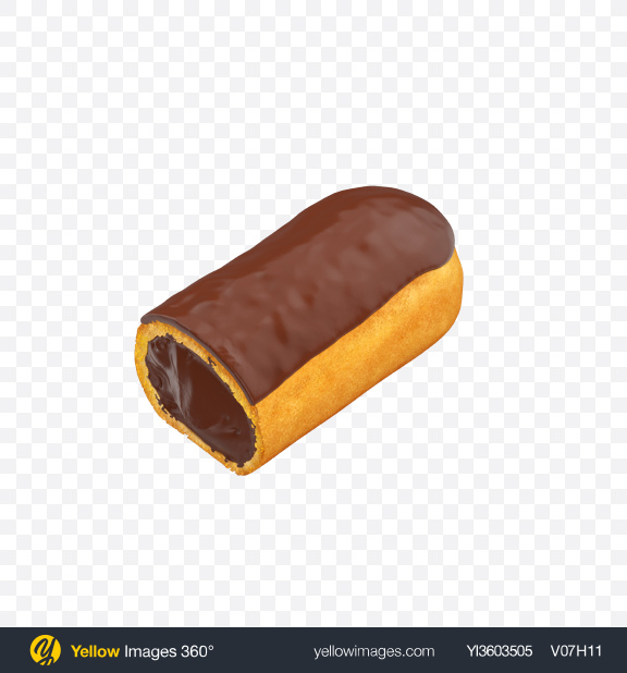 Download Half of Chocolate Eclair Transparent PNG on Yellow Images 360°