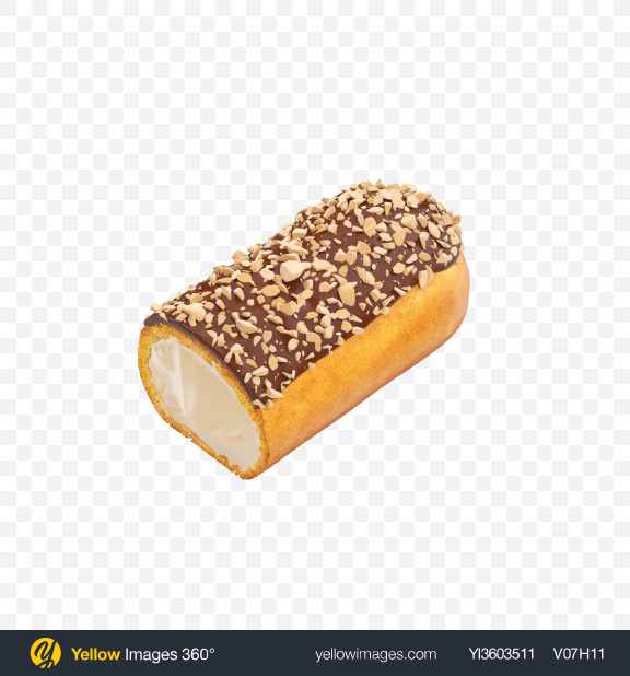 Download Half of Eclair with Nut Crumbs Transparent PNG on Yellow Images 360°