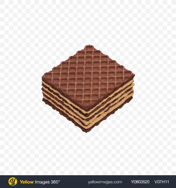 Download Square Chocolate Wafer Transparent PNG on Yellow Images 360°