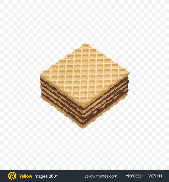 Download Squre Wafer with Chocolate Cream Transparent PNG on Yellow Images 360°