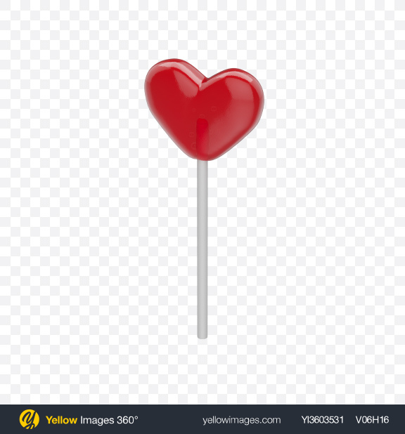 Download Red Heart Lollipop Transparent PNG on Yellow Images 360°
