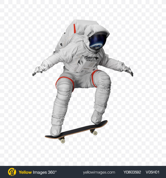 Download Astronaut on Skateboard Transparent PNG on Yellow Images 360°