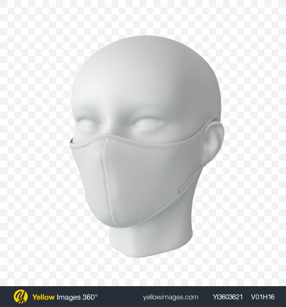 Download White Face Mask with Mannequin Transparent PNG on Yellow Images 360°