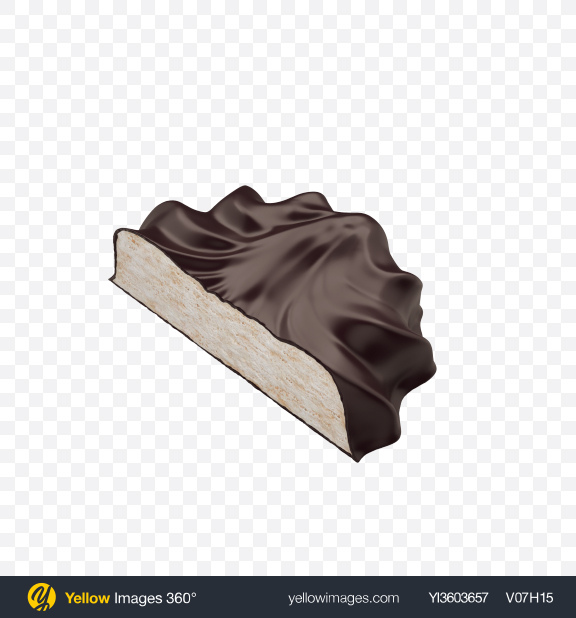 Download Half of Chocolate Coated Marshmallow Transparent PNG on Yellow Images 360°