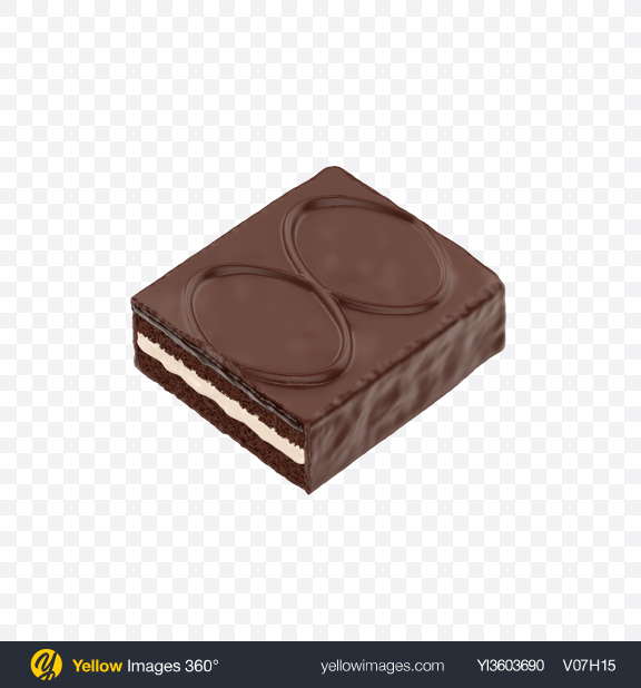 Download Half of Chocolate Cake Bar Transparent PNG on Yellow Images 360°
