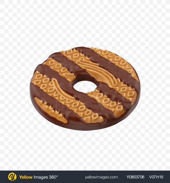 Download Chocolate Coated Cookie Transparent PNG on Yellow Images 360°